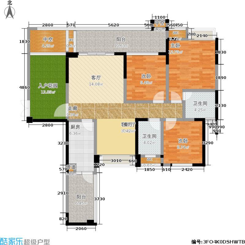 保利中央峰景113.57㎡一期27#楼偶数层G2户型