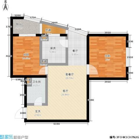 欧园北欧印象2室1厅1卫1厨83.00㎡户型图