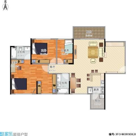 龙光海悦华庭3室1厅2卫1厨138.00㎡户型图