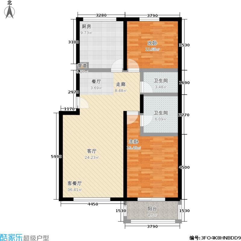 星海明珠101.97㎡二室二厅二卫户型
