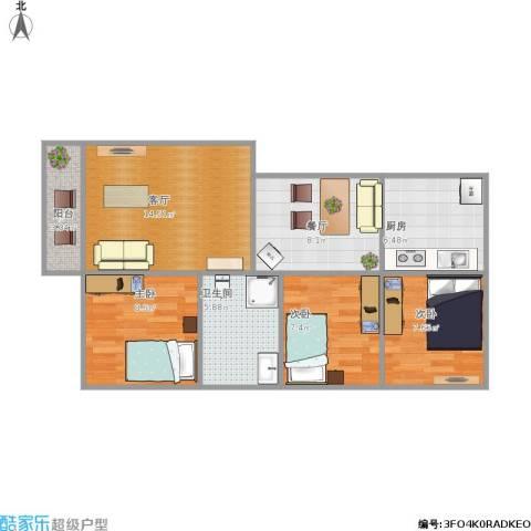 江湾苑3室2厅1卫1厨84.00㎡户型图