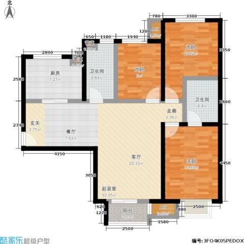 北京城建·世华泊郡3室0厅2卫1厨118.00㎡户型图