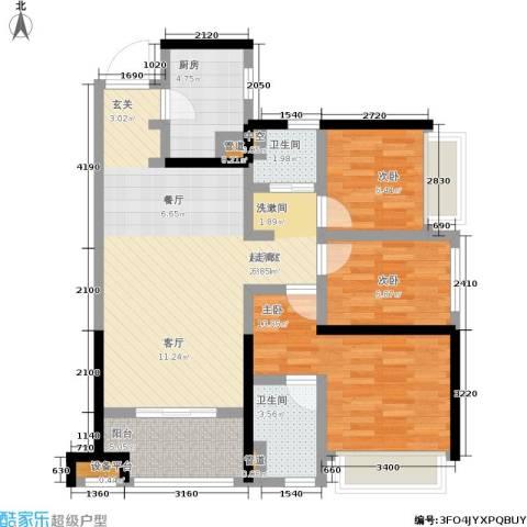 南海万科广场3室0厅2卫1厨89.00㎡户型图