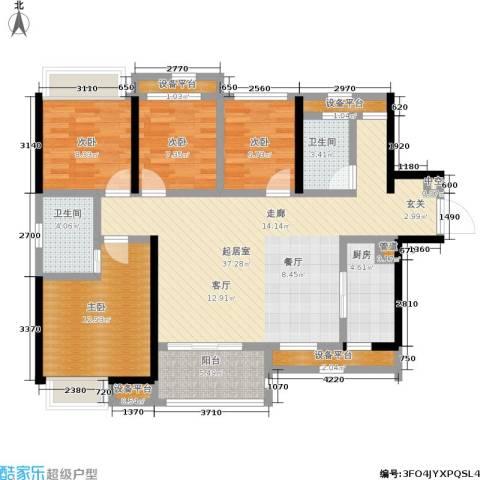 南海万科广场4室0厅2卫1厨110.00㎡户型图