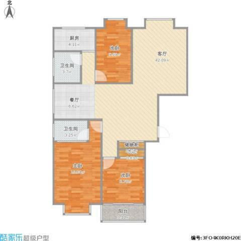 江南名府3室1厅2卫1厨124.00㎡户型图