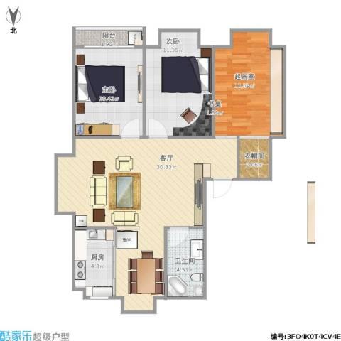 怡心苑2室1厅1卫1厨104.00㎡户型图