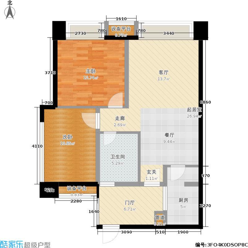融信翡翠湾73.72㎡一期1-12号楼标准层A1户型
