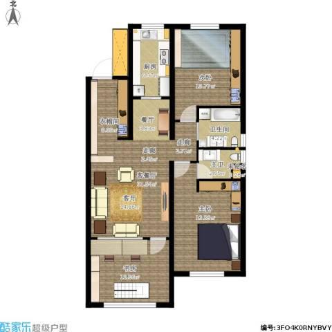 半山公馆3室1厅1卫1厨123.00㎡户型图