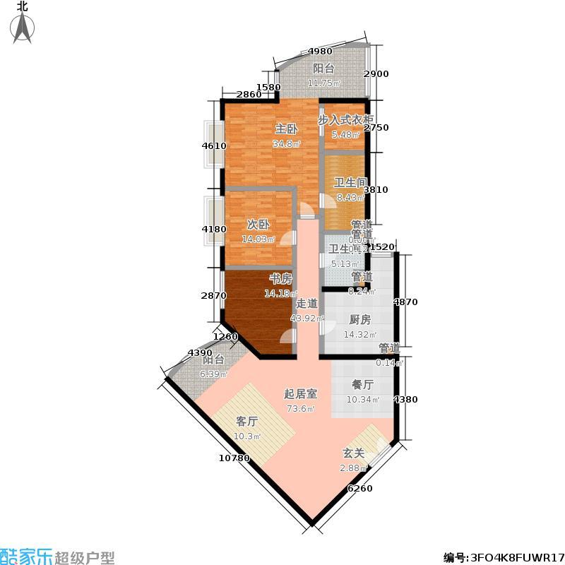 中国第一商城191.08㎡D户型三室两厅两卫户型