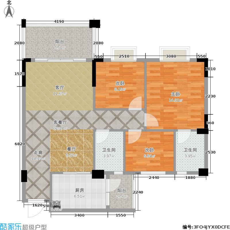 大丰豪庭95.85㎡二期4楼C栋标准层02户型
