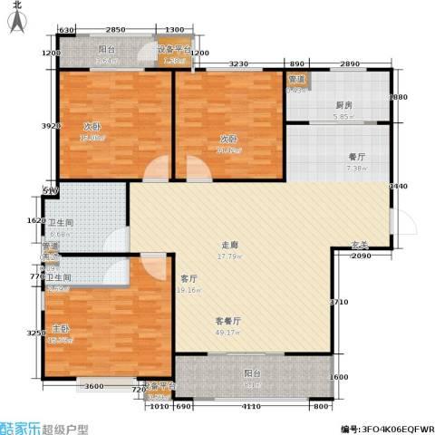三田雍泓·青海城3室1厅2卫1厨137.00㎡户型图