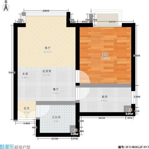 A派公寓1室0厅1卫1厨56.00㎡户型图