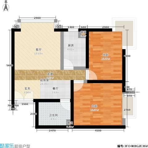 A派公寓2室0厅1卫1厨78.00㎡户型图