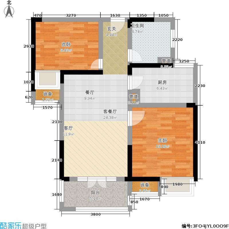 世茂锦绣长江78.00㎡1、2、3-B户型