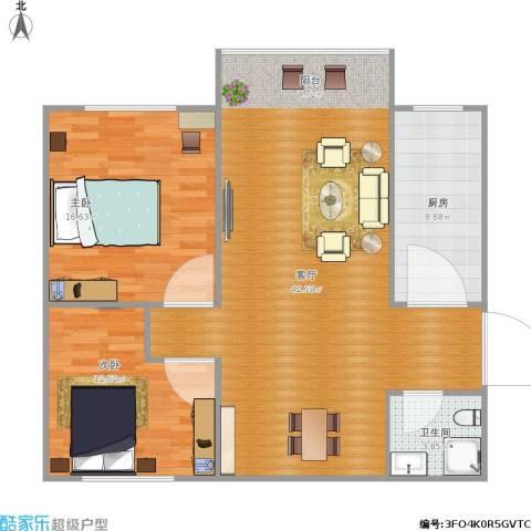 美然绿色家园2室1厅1卫1厨121.00㎡户型图