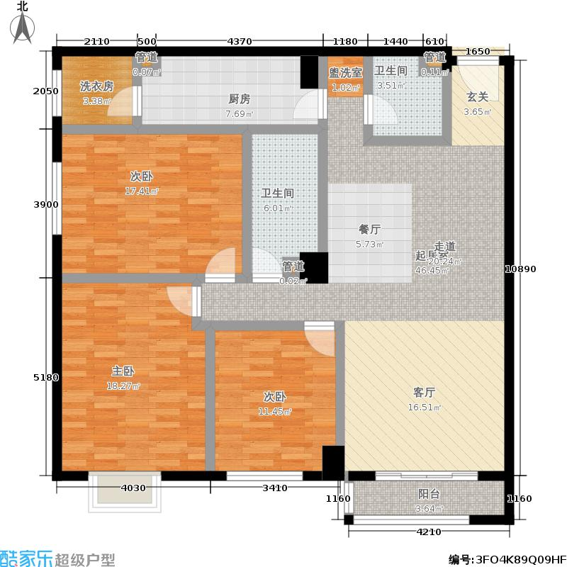 阿曼寓所137.00㎡3-p户型三室两厅户型