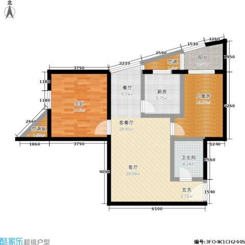 欧园北欧印象2室1厅1卫1厨82.00㎡户型图