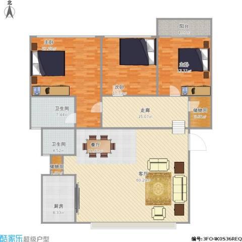 水晶花园3室1厅2卫1厨221.00㎡户型图