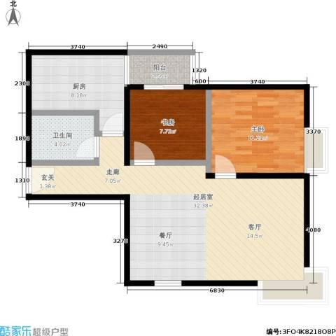 紫薇龙腾新世界2室0厅1卫1厨76.00㎡户型图
