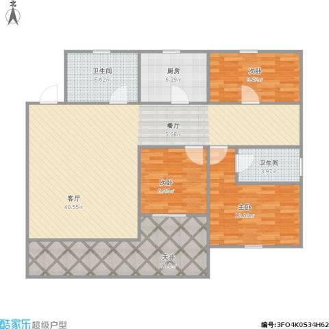 富丽公寓西区3室1厅2卫1厨136.00㎡户型图