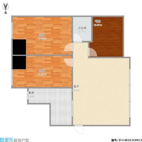 西吴御龙庭3室1厅1卫1厨123.00㎡户型图