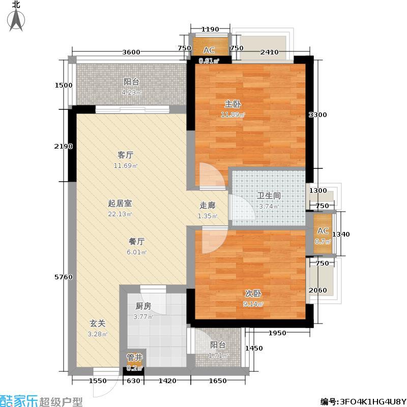 东邦花菓山81.56㎡东邦花�山一期2号楼标准层E户型