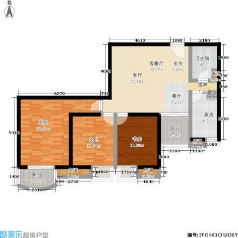 欧园北欧印象3室1厅1卫1厨115.00㎡户型图