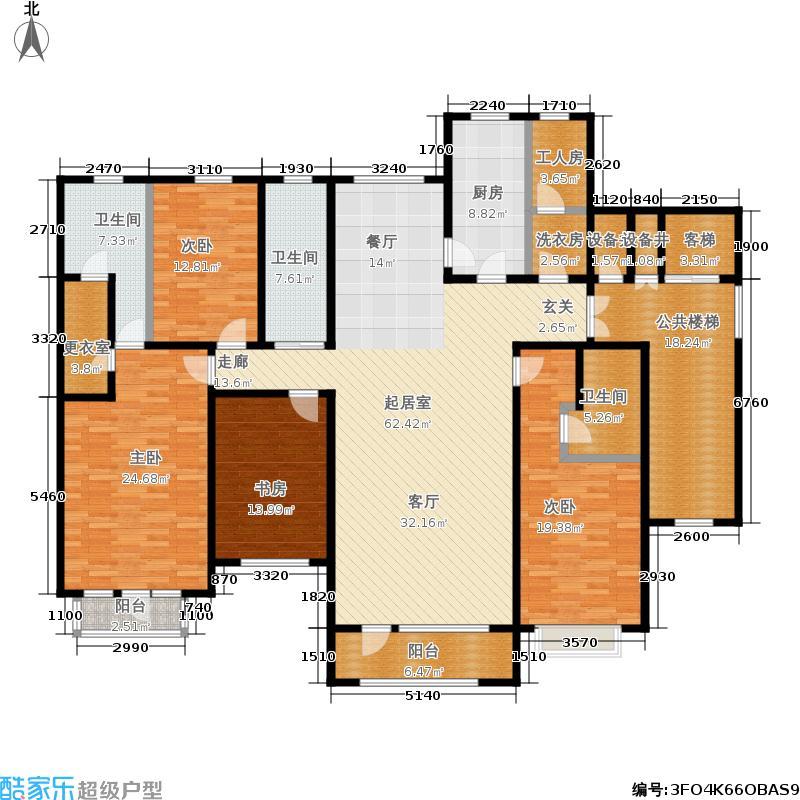国华东方美郡花园洋房四室两厅三卫户型4室2厅3卫