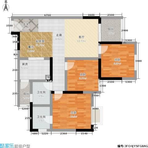 宝嘉花与山3室0厅2卫1厨96.00㎡户型图