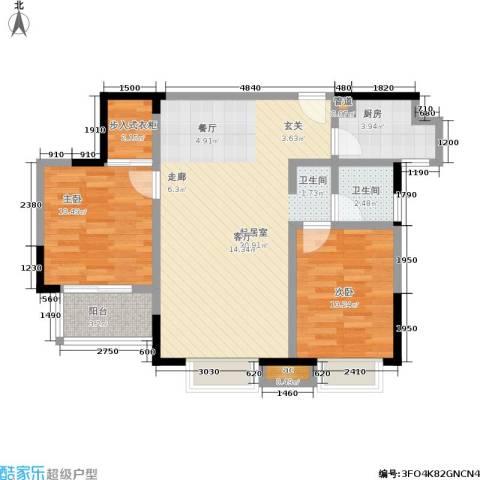 世纪桃花苑2室0厅1卫1厨93.00㎡户型图