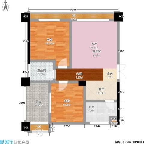 香颂国际2室0厅1卫1厨86.00㎡户型图