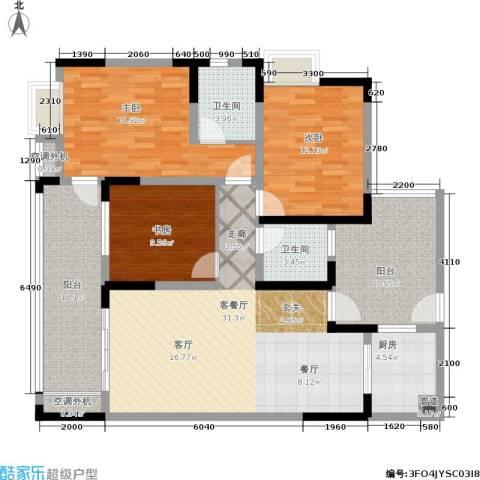 润丰水尚观景台高层组团3室1厅2卫1厨103.40㎡户型图