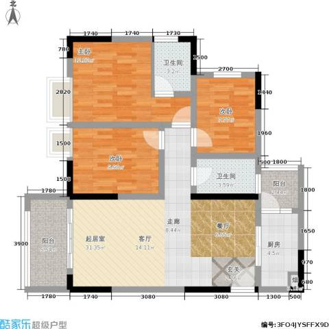 宝嘉花与山3室0厅2卫1厨105.00㎡户型图