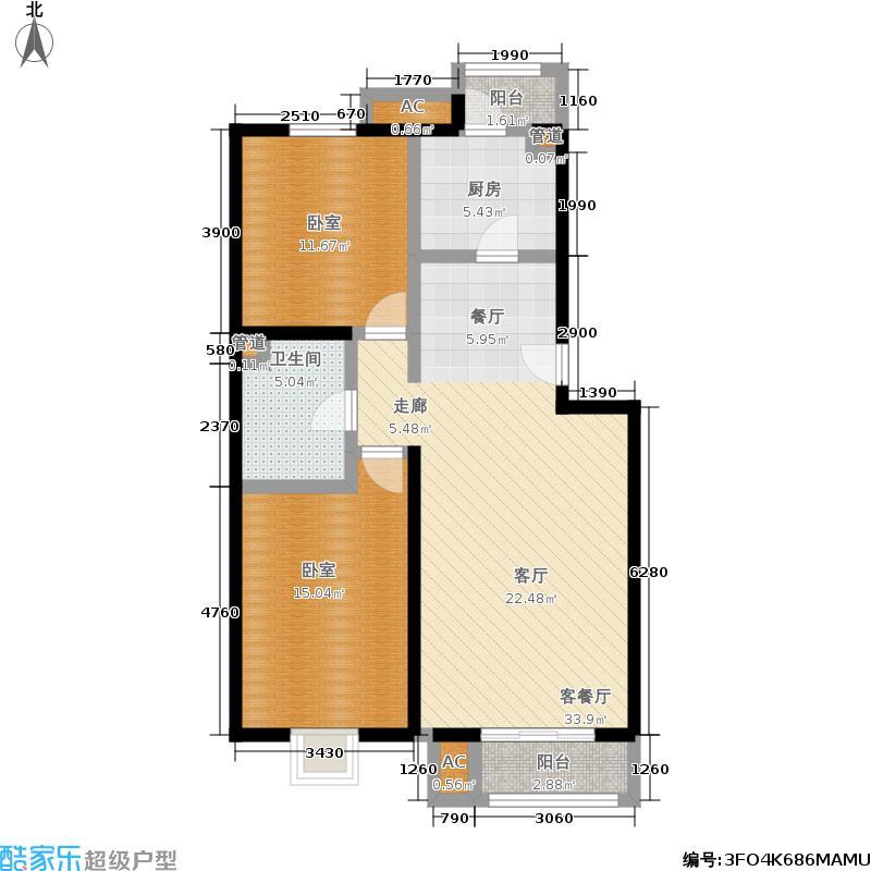 望都新地89.80㎡望都新地户型图二期F1二室二厅一卫(12/14张)户型10室