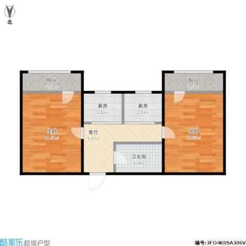 朝阳里2室1厅1卫2厨58.00㎡户型图
