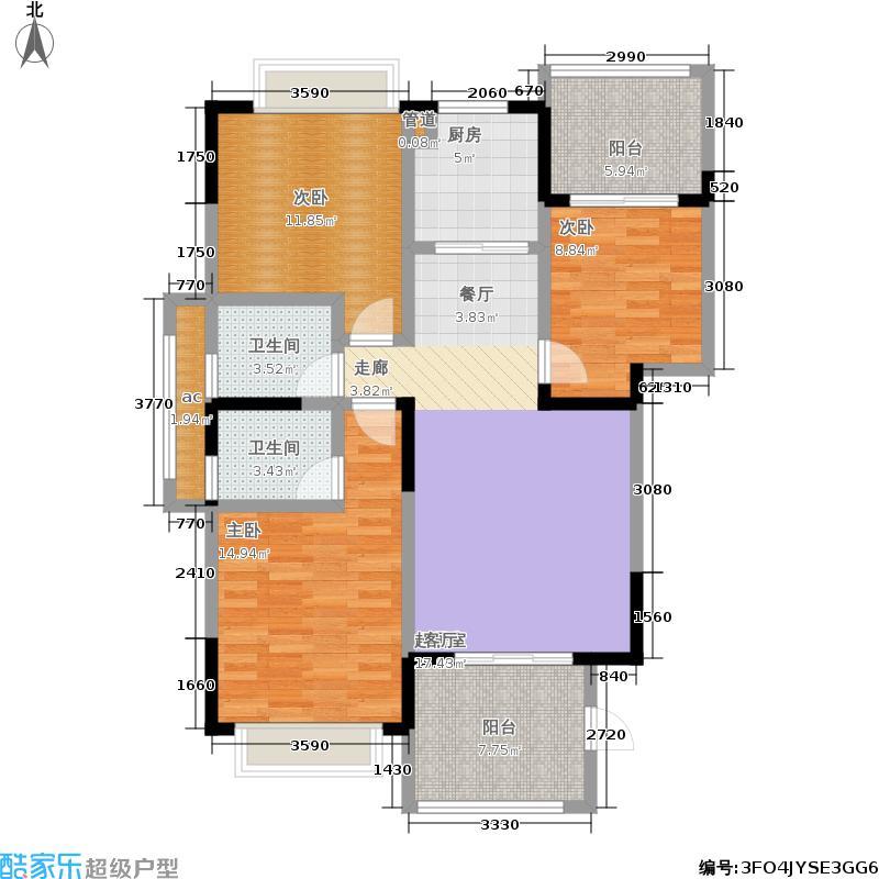 中庚领御113.98㎡1期21、25号楼标准层R户型