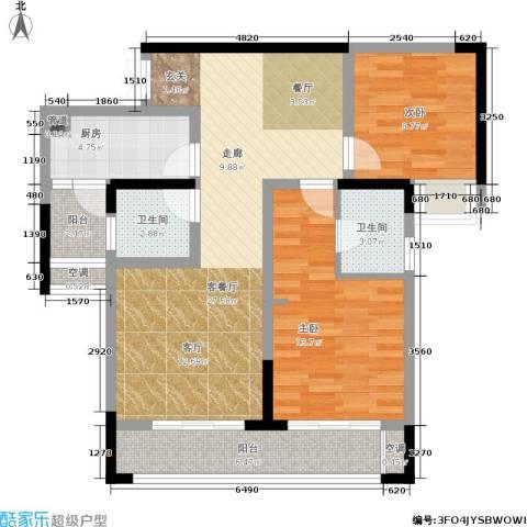 润丰水尚观景台高层组团2室1厅2卫1厨85.00㎡户型图