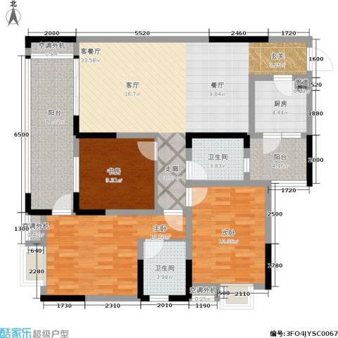 润丰水尚观景台高层组团3室1厅2卫1厨102.00㎡户型图