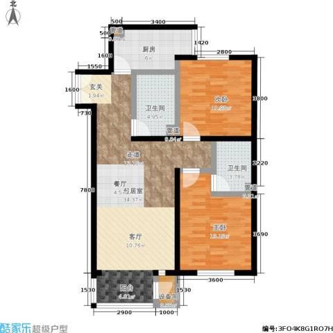 A派公寓2室0厅2卫1厨104.00㎡户型图