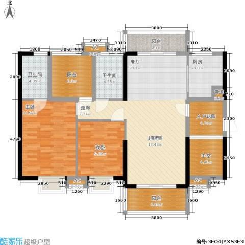 广州星河・山海湾2室0厅2卫1厨112.00㎡户型图