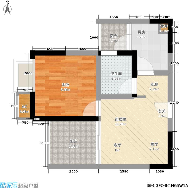 东邦花菓山53.18㎡东邦花�山一期2号楼标准层B-2户型