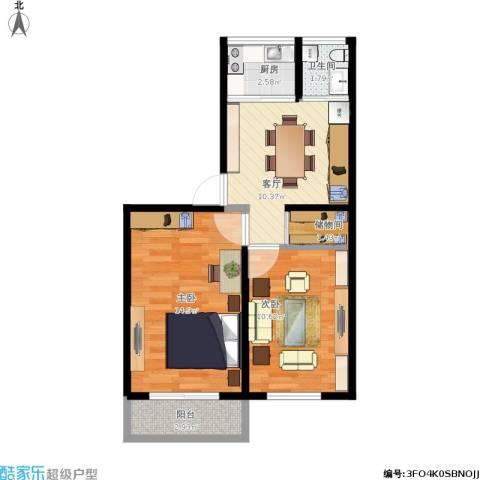 管庄西里2室1厅1卫1厨64.00㎡户型图