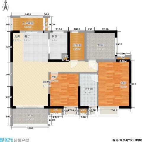 广州星河・山海湾2室0厅2卫1厨124.00㎡户型图