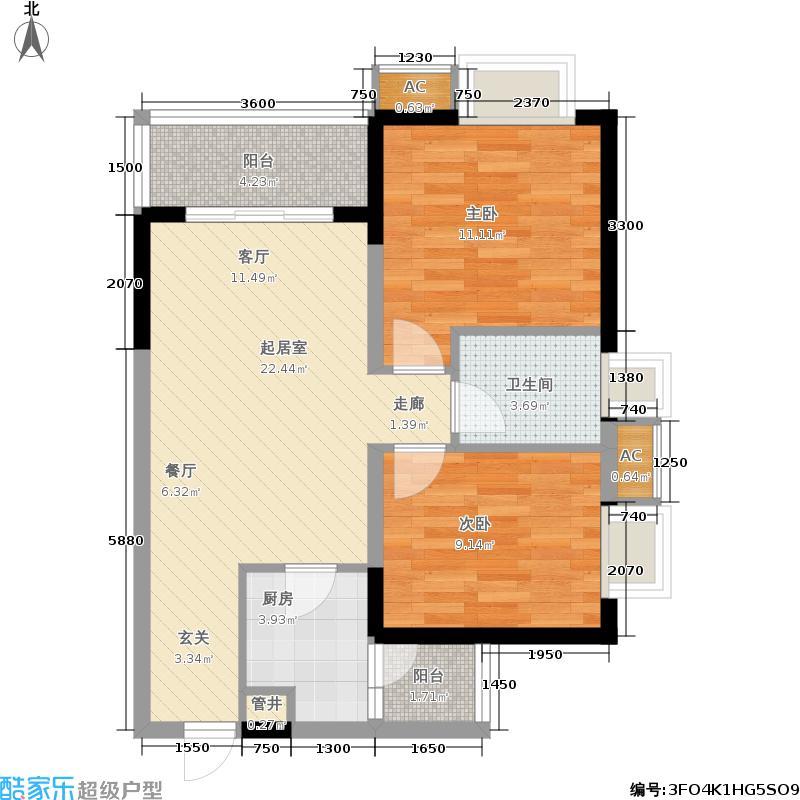 东邦花菓山78.75㎡东邦花�山一期2、3号楼标准层E户型