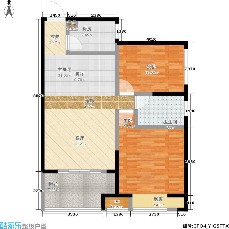 和昌悦澜87.05㎡一期3号楼1单元1-27层G2室户型