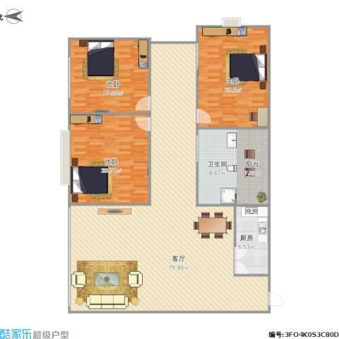 中山颐景花园3室1厅1卫1厨207.00㎡户型图