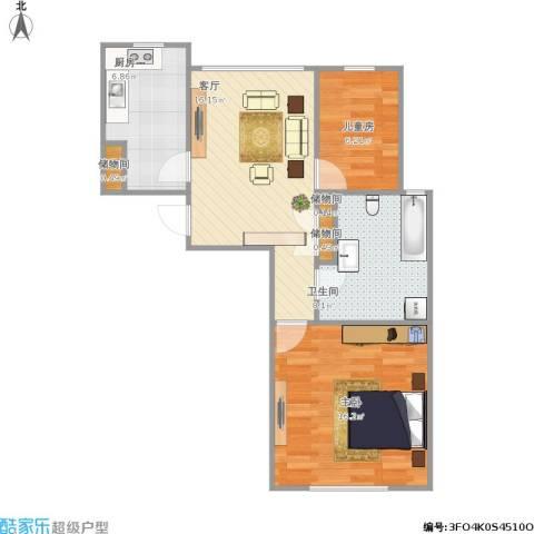 幸福时光2室1厅1卫1厨74.00㎡户型图