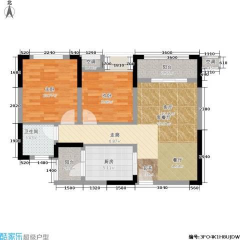 润丰水尚观景台高层组团2室1厅1卫1厨61.00㎡户型图