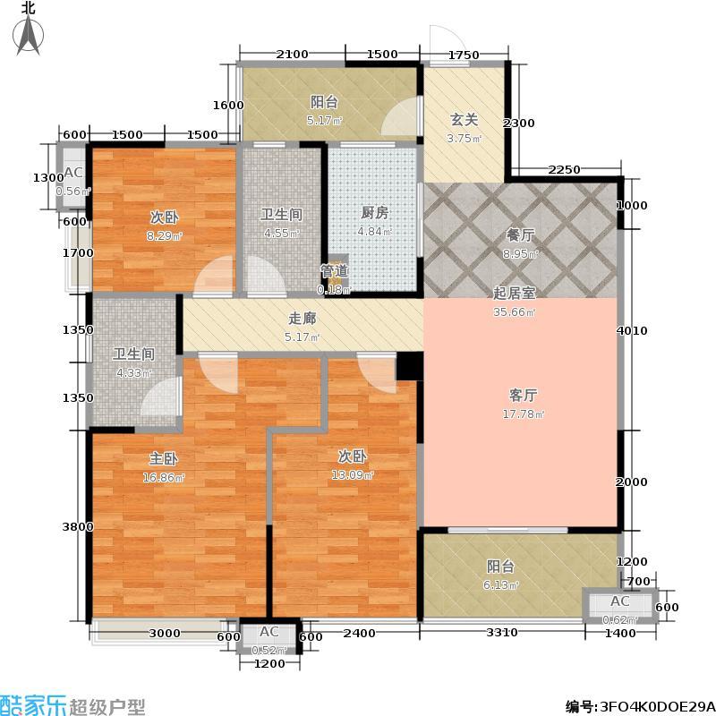 置信逸都115.00㎡1期B区2号楼标准层A2/B3/C4户型