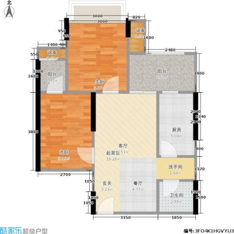 万港・汇景苑2室0厅1卫1厨66.00㎡户型图